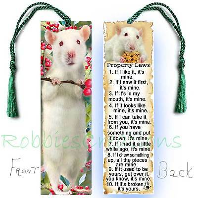 WHITE Pet RAT Large Book BOOKMARK Tassel FUN Pet RULES Property Art CARD-Not Toy