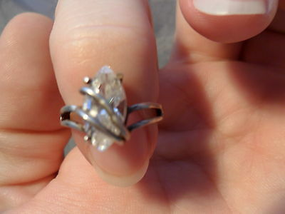 Vintage Antique Estate~925 Solid Sterling Silver White Topaz Ornate Ring Size 6