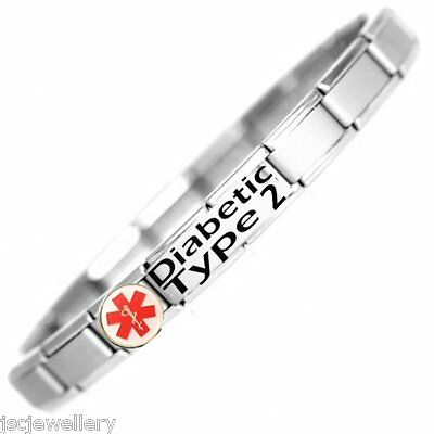 DIABETIC TYPE 2 Medical Alert SOS Stainless Steel Bracelet - One size fits all