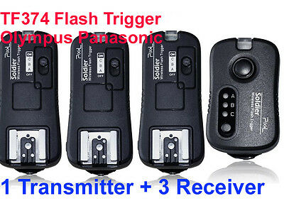 Pixel TF374 wireless Flash Trigger Olympus Panasonic with 3 Receivers