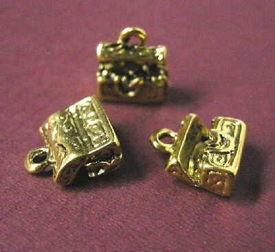 6pc antique gold metal treasure box pendant-3379