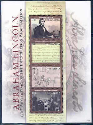GAMBIA 2012 ABRAHAM LINCOLN WRITING THE PROCLAMATION OF FREEDOM SHEET  MINT NH