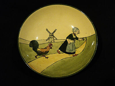 """VINTAGE """"HAAG"""" AUSTRIAN ART POTTERY SMALL 5"""" BOWL, GIRL w/ ROOSTER DECORATION"""