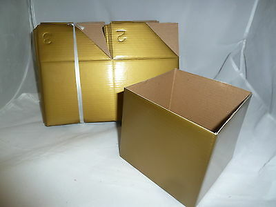 Coloured Boxes for gifts-25 Boxes 13cm sq - no lids **ONE COLOUR** GOLD