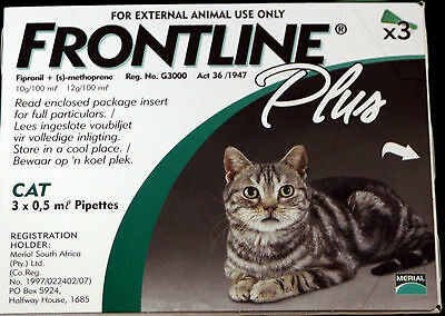 Merial Frontline Plus for cats 3 Pack, 3 months supply, flea tick control, NIB