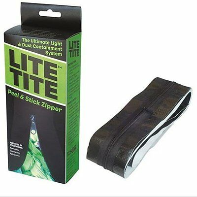 Lite Tite Heavy Duty Peel & Stick Zipper - Black - tarp zip room tent doorway