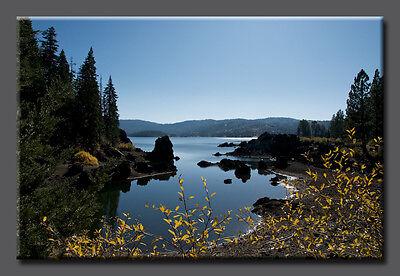 Silver Lake Fall-- LARGE Nature Photo Giclee Canvas Gallery Wrap Blue Water Sky