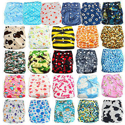 30 Styles One Size Adjustable Baby Pocket Cloth Diaper Nappy + 2Inserts U Pick!!