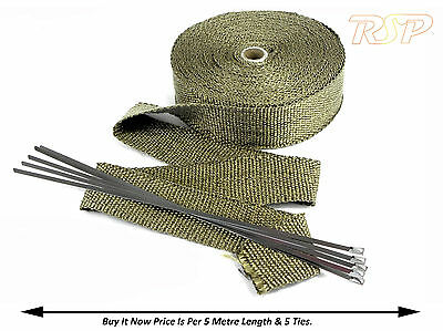 5 Metre Of High Temp Titanium Exhaust Maniolfd Downpipe Heat Wrap & 5 Ties /Fd1