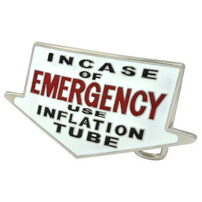 In Case Of Emergency White Belt Buckle Funny Cool Unique