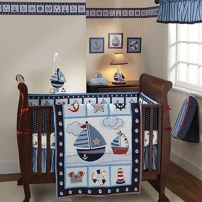 Blue Sail Boat Themed 3pc Baby Boy Nursery Water Crib Bedding Set Collection