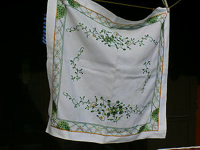 PRE WW2 German Made MEISSEN Indian Green Malerie EMBROIDERED TABLE CLOTH 26x28