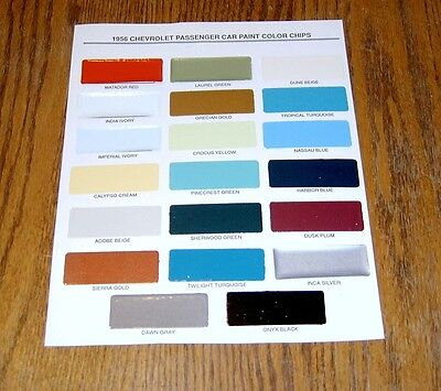 1956 Chevy Paint Chip Chart All Original Colors ** Usa Made **