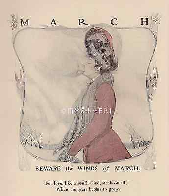 Beware South Winds Of March-Kisses Victorian Lady-1905 ANTIQUE VINTAGE ART PRINT