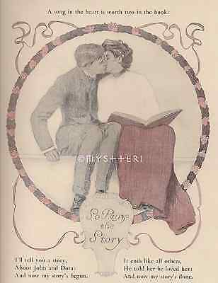 Song In The Heart-Victorian Couple Kiss-Love-Book-1905 ANTIQUE VINTAGE ART PRINT