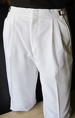 Mens White 36-38 Long Adjustable Waist Tuxedo Pants Wedding Prom Discount