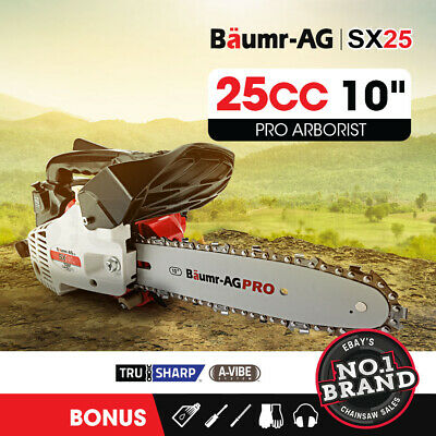 "NEW Baumr-AG 25cc Petrol Chainsaw Arborist 10"" Bar Tree Pruning Garden Chain Saw"