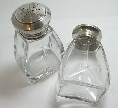 Pair Of Beautifully Quality  Cut Glassl Art Deco Shakers With Solid Silver Tops