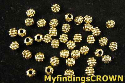400PCS Antiqued gold beaded barrel spacer beads FC279G