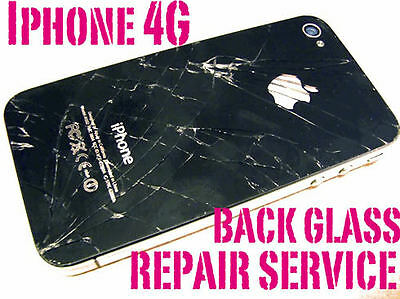 REPAIR SERVICE Iphone 4 Cracked Broken BACK GLASS ONLY REPAIR SERVICE