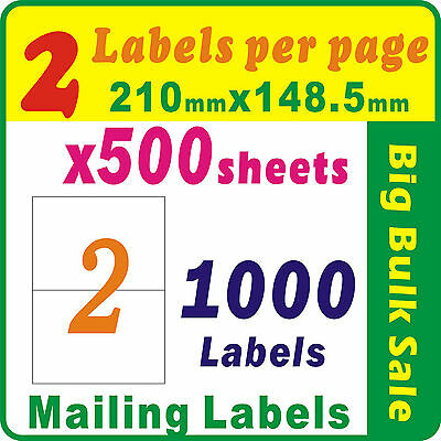 500 Sheets 2 Labels Per Page 1000 Labels 210x148.5mm A4 Office Mailing Labels