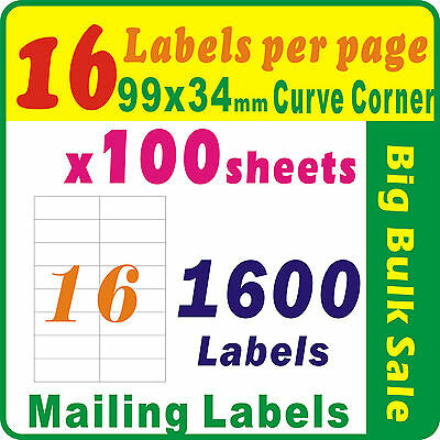 100 Sheets 16 Labels Per Page 1600Labels 96x34mm Round Corner A4 Mailing Label