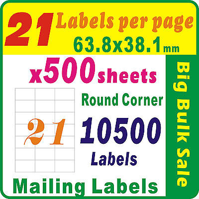 500 Sheets 21 Labels Per Page 10500 Labels 64x38mm Round Corner A4 Mailing Label