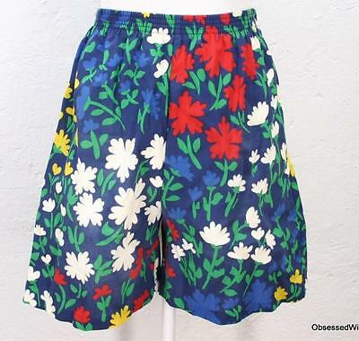 VTG 70's 80's  blue yellow green red floral shorts elastic waist M/L