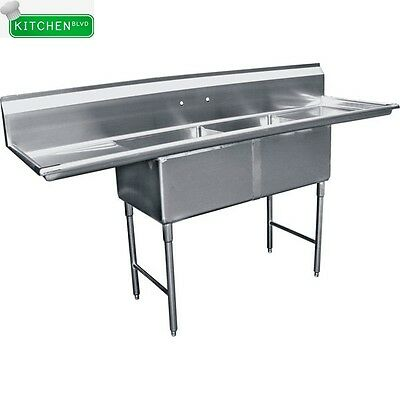 """2 Compartment  Sink 15"""" x 15"""" w/ 2 Drainboards NSF"""