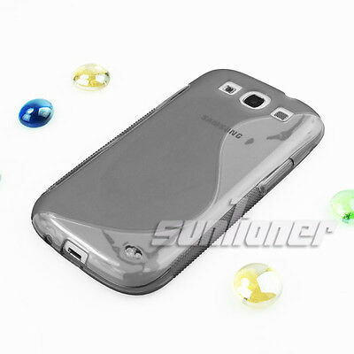 For Samsung Galaxy S3, S III, i9300 Soft Gel TPU Grey Case Cover