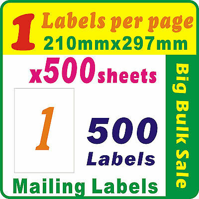 500 Sheets 1 Label Per Page 500 Labels 210x297mm A4 Office Mailing Label
