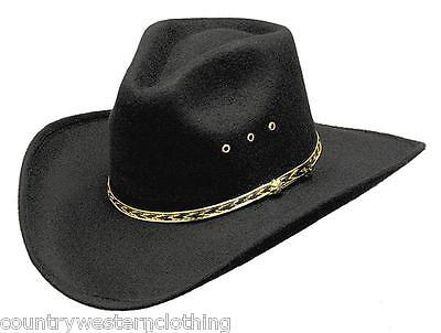 Mens Ladies Western Cowboy Hat Black Pinch Front Rodeo Stetson