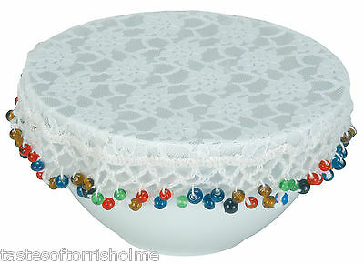Kitchen Craft 20cm Weighted Coloured Bead Edged & White Lace Food Bowl Cover
