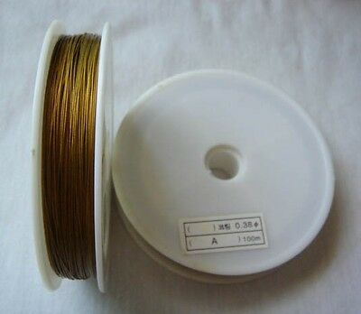100 M Golden Tiger Tail Nylon Coated Beading wire .38mm