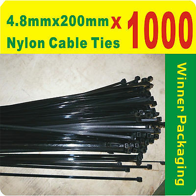 1000 x Black Nylon Cable Ties 4.8mmX 200mm (5 x200mm) Free Postage