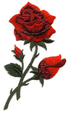 Red Rose - Gardening -  Flower - Rose - Embroidered Iron On Applique Patch