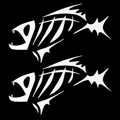 """(2) 7"""" Angry Fish Bones Skull Skeleton Decal Stickers For Car Windows Bumper etc"""