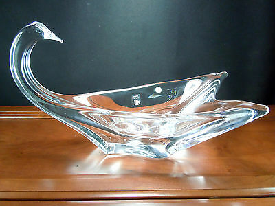 DAUM CRYSTAL FRANCE RARE LARGE SWAN BOWL WITH DAUM BOX NEVER BEEN USED