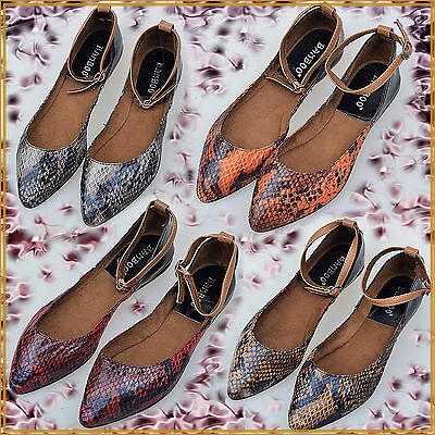 Women shoes Imitate Snake Skin Point-toe Flats Size 6-9