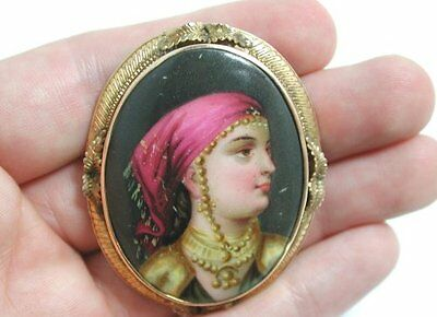 Stunning Ornate Antique Gypsy Painting Brooch or Pendant