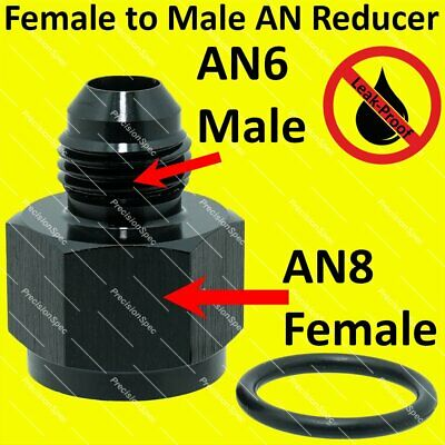 AN8 8AN Female to AN6 6AN Male Flare Reducer Aluminium Fitting Adapter - Black