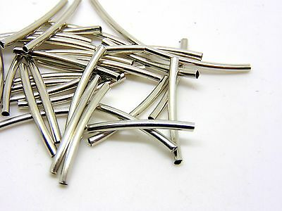 30 Pcs -  25mm Silver Coloured Tube 2mm Spacer Beads Jewellery Bead A4