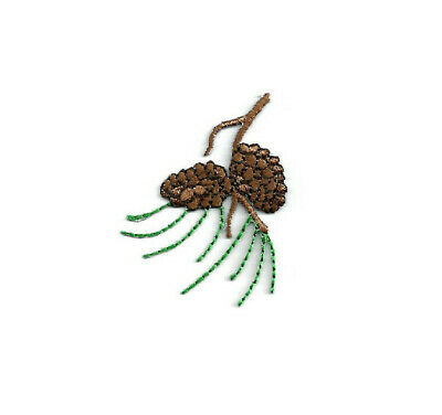 Pinecone - Pine Needles - Autumn - Leaves - Embroidered Iron On Applique Patch