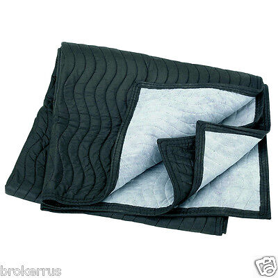 "40"" x 72"" MOVER's BLANKET Quilted PaDDeD black gray poly cotton Furniture Moving"