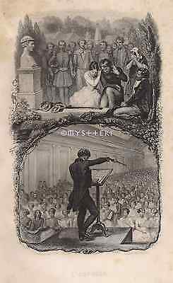 Music Conductor-Death-Mourning-1858 ANTIQUE VINTAGE ART PRINT-French Engraving