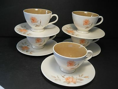 vtg Knowles 5 Cups & Saucer Serenade Peach Color Rose Pattern Designed by Kalla