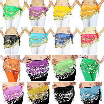 Hot 3 Rows Belly Dance dancing Hip Skirt Scarf Wrap Belt Hipscarf with 128 Coins
