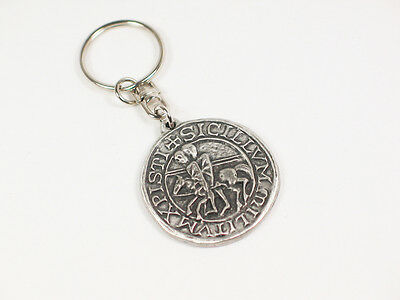 Knights Templar Seal Pewter Keyring. (Poor Fellow-Soldiers of Christ )
