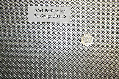Perforated 304 Stainless Steel 3/64 inch hole, 20 gauge, Price per 7 square inch