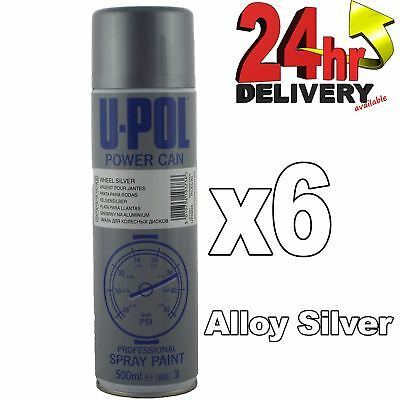 U-pol Power Can ALLOY WHEEL SILVER 500ml Paint Aerosol Upol x 6 Powercan PCAS